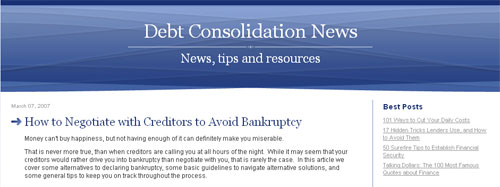 Debt Consolidation News